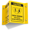 Caution Check Mirror Traffic Before Proceeding Sign