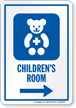 Childrens Room Right Arrow Hospital Sign