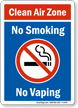 Clean Air Zone No Smoking, No Vaping Sign