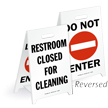 Restroom Closed For Cleaning Reversible Fold-Ups Floor Sign