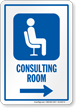 Consulting Room Right Arrow Hospital Sign