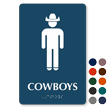 Cowboys TactileTouch Braille Restroom Sign with Graphic
