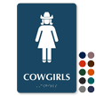 Cowgirls TactileTouch Braille Restroom Sign with Graphic