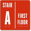 Custom Stair And Floor Name Braille Sign