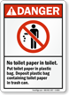 Danger No Toilet Paper Sign