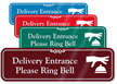 Delivery Entrance Please Ring Bell Showcase Wall Sign