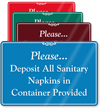 Please Deposit Sanitary Napkins in Container Sign