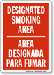 Designated Smoking Area Bilingual Sign