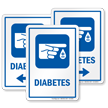 Diabetes Hospital Sign with Finger Blood Drop Symbol