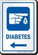 Diabetes Hospital Sign With Left Arrow