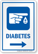 Diabetes Hospital Sign With Right Arrow