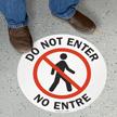 Bilingual Do Not Enter Circular Floor Sign