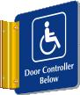 Door Controller Below Sign with Handicap Symbol