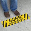 Door Opens Out Caution GripGuard Slip-Resistant Floor Sign