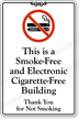 Smoke Free Electronic Cigarette Free Building Wall Sign