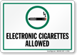 Electronic Cigarettes Allowed With Graphic Sign