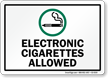 Electronic Cigarettes Allowed Sign With Symbol