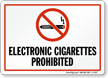 Electronic Cigarettes Prohibited, No Smoking Sign