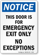 Emergency Exit Only Sign