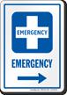 Emergency Right Arrow Hospital Sign