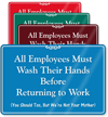 Employees Wash Hands Returning To Work Wall Sign