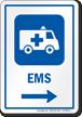 EMS Right Arrow Hospital Sign