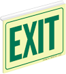 Green Exit Glow Z-Sign for Ceiling
