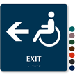 Exit, Left Arrow With Accessible Pictogram Braille Sign