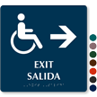 Bilingual Exit, Salida, Right Arrow Braille Sign