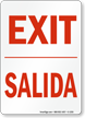 Bilingual Exit Salida Sign