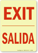 Bilingual Exit Salida Glow-in-the-Dark Sign