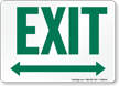 Exit with Green Bidirectional Arrow Sign