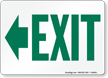 Exit Sign with Green Left Arrow Direction
