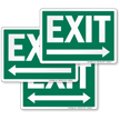 Exit Right Arrow Sign, White On Green