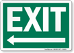Exit Left Arrow Sign, White On Green