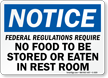 No Food Stored Eaten In RestRoom Sign