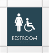 Restroom Sign with Female & Handicap Accessible Symbol
