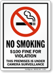 Fine For Violation No Smoking Sign