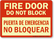 Bilingual Fire Door Do Not Block Glow Sign