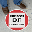 Fire Door Exit Keep Area Clear SlipSafe Floor Sign