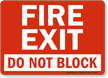 Fire Exit Block Sign