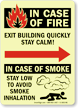 In Fire Exit Building Stay Calm Glow Sign