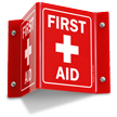 Projecting First Aid Red Sign