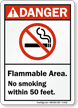 Flammable Area No Smoking Danger Sign