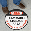 Danger Flammable Storage Area Circular Floor Sign