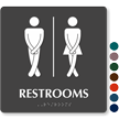 Cross legged Unisex Bathroom Humor Sign