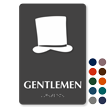 Gentlemen Hat Braille Restroom Sign