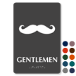 Gentlemen Mustache Braille Restroom Sign
