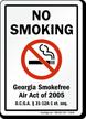No Smoking Georgia Smokefree Air Act Sign
