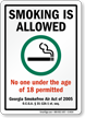 Smoking Allowed Under 18 Not Permitted Sign